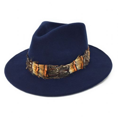 Womens Showerproof Wool Navy Fedora Hat with Country Feather Wrap Trim - Mickleton
